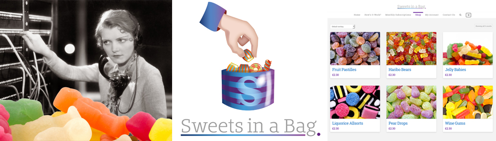 Sweets in a Bag Sherborne Ecommerce Web Shop branding by Theory Unit Graphic and Web Design