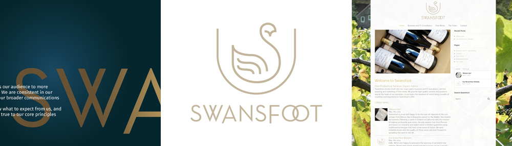 Swansfoot Fine Wines & IT and Business Consultancy Logo by Theory Unit Graphic Design in Sherborne, Dorset near Yeovil
